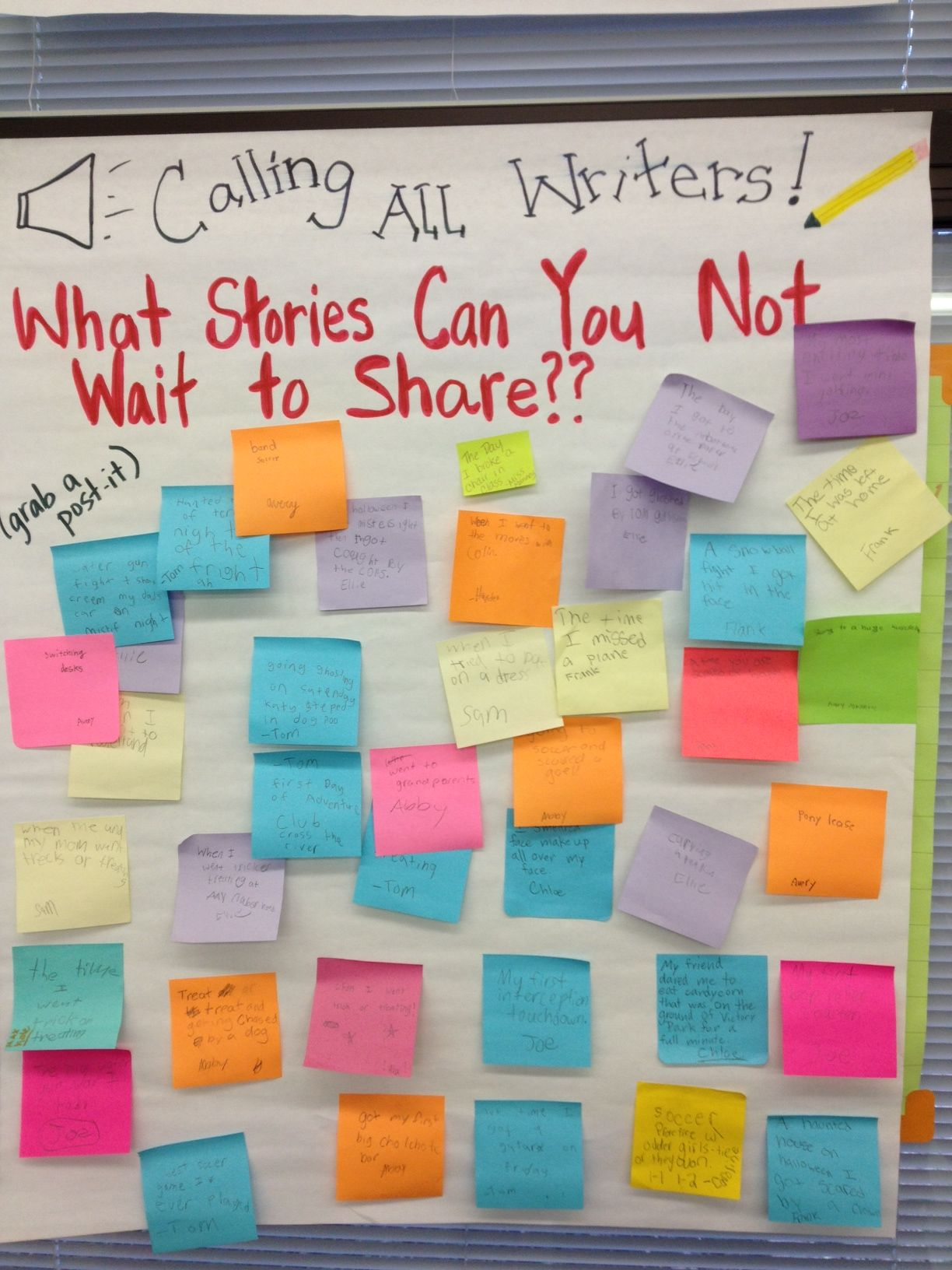 when the kids can't wait to tell a story... direct them to put a post-it on this chart then when stuck for a writing idea pull off a post it