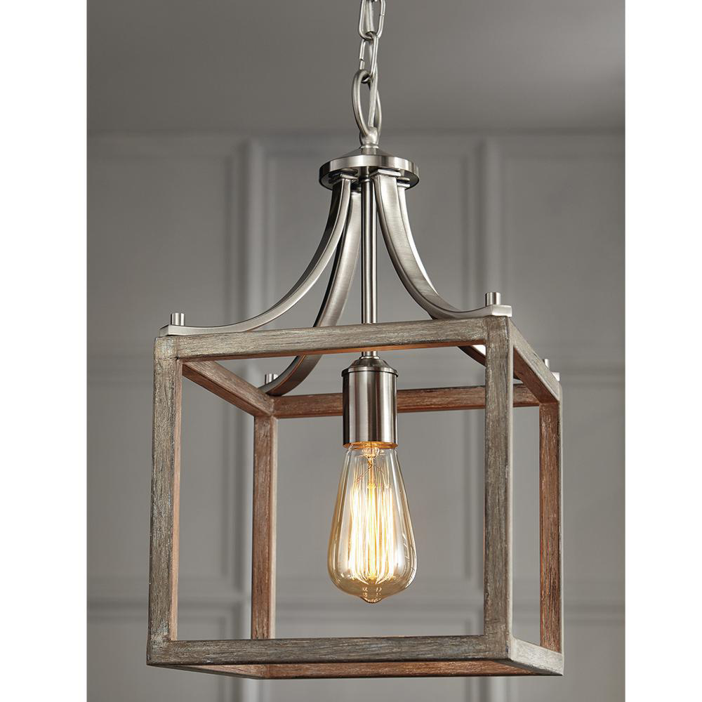 Home Decorators Collection Boswell Quarter 9 44 In 1 Light Brushed Nickel Kitchen Island Mini Pendant With Painted Weathered Gray Wood Accents 7947hdcdi In 2020 Wood Pendant Light Kitchen Island Lighting Kitchen Pendant Lighting
