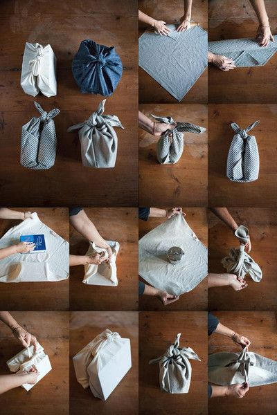 Gift wrapping techniques with handkerchief
