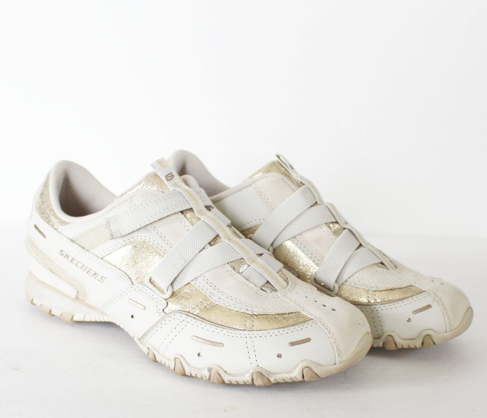 9af7200b45b5 Skechers Shoes Womens Size 8 Gold Lame Velcro Off White Ivory Fashion Fancy   SKECHERS  FashionSneakers