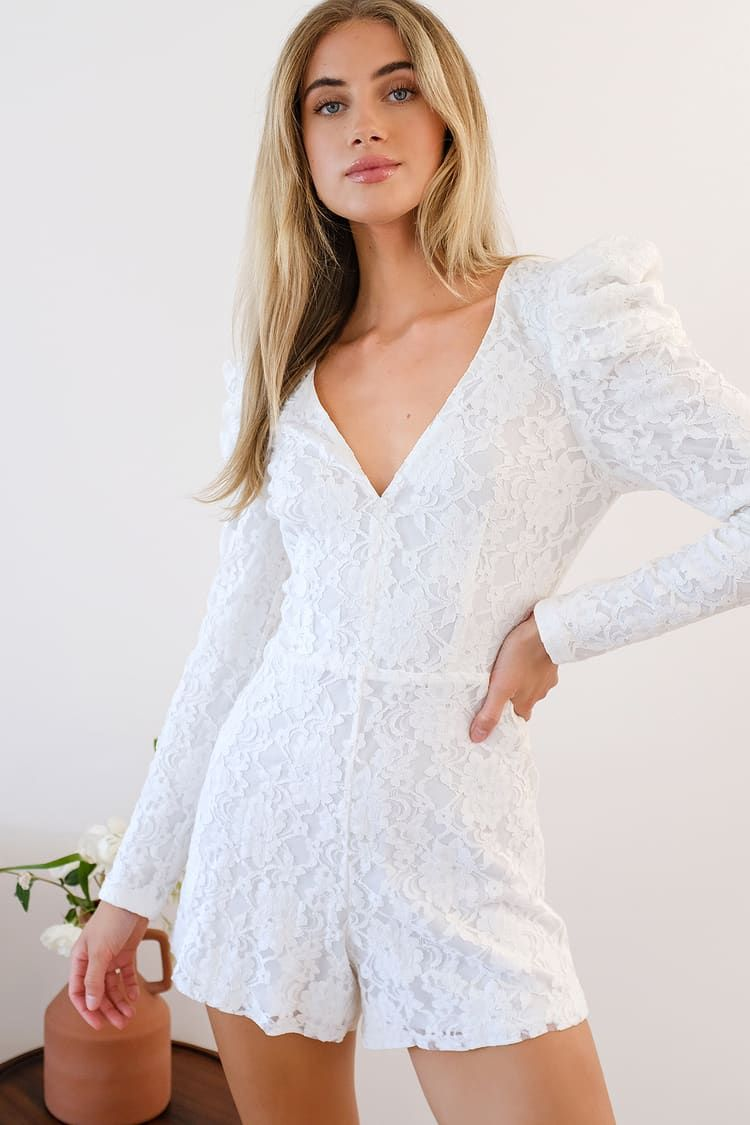 Fashionable Find White Lace Long Sleeve Romper White Lace Romper Long Sleeve Romper Fashion [ 1125 x 750 Pixel ]
