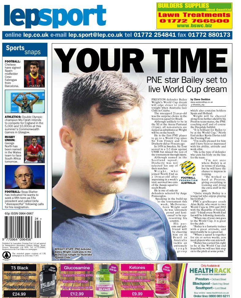 Today's back page 13-06-14