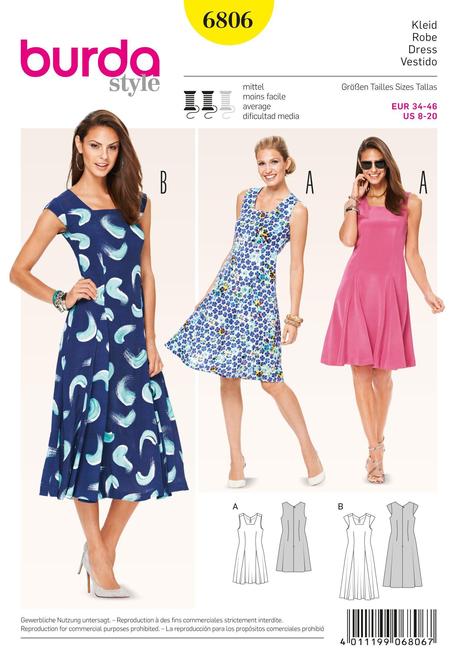 Burda 6806 Burda Style Dresses Dress Sewing Patterns Summer Dress Patterns Sewing Dresses [ 2244 x 1559 Pixel ]