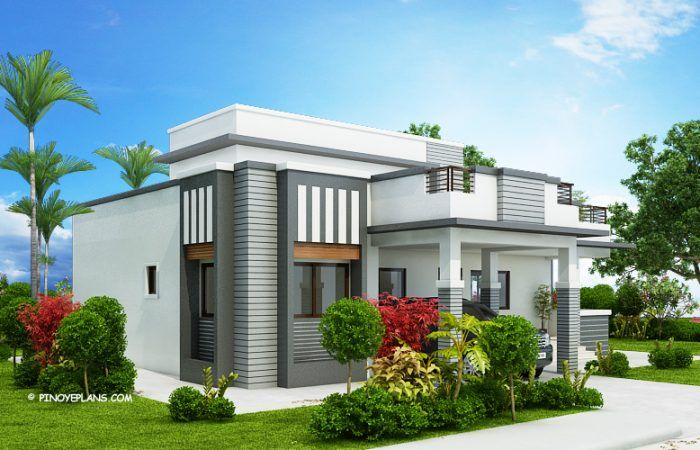 This Four Bedroom Modern House Design With Roof Deck Has A