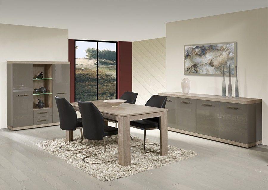 Salle à manger complète gris laqué et couleur chêne clair moderne