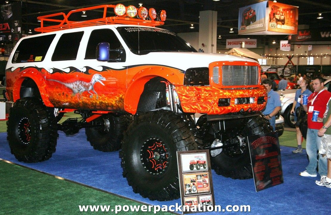 An Optima Powered Ford Excursion At Sema Ford Excursion Ford Trucks Lifted Ford