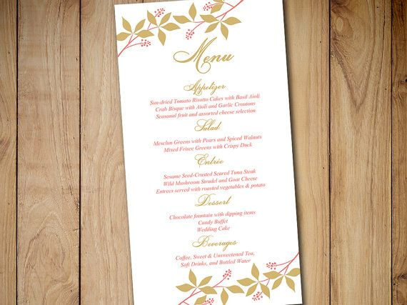 Diy Wedding Menu Template Instant Download  Printable Menu Coral