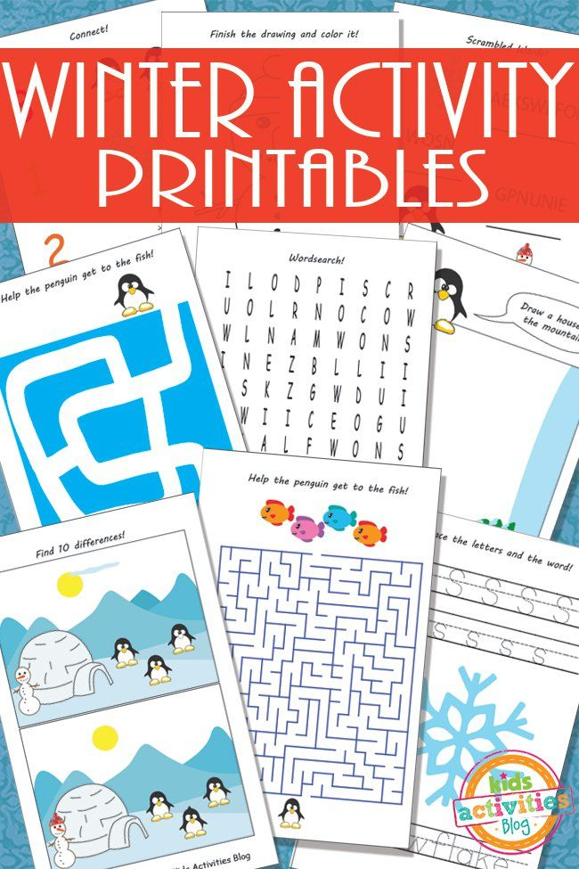 Printable Winter Activity Sheets for Kids Winter