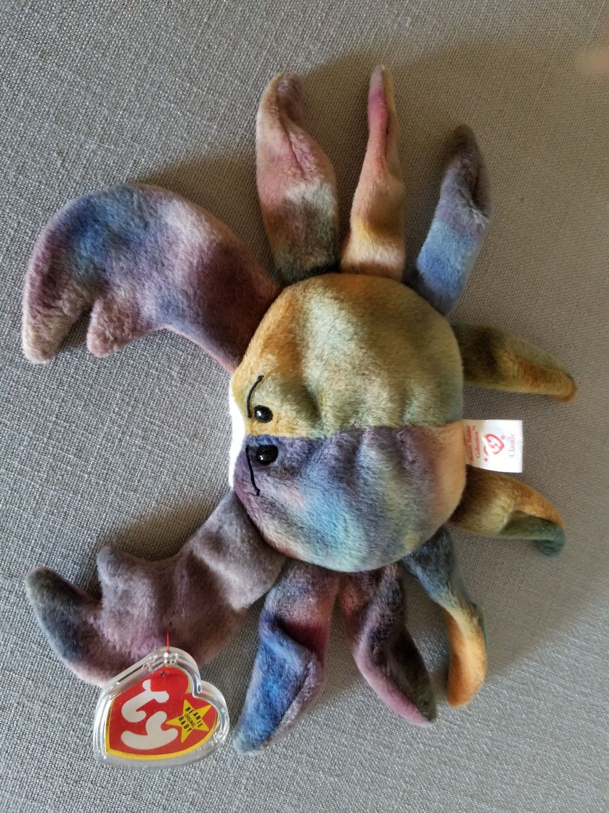 bf87c74b081 Retired 440  Beanie Babies Claude The Tye Dye Crab 1996 Ty Original Tag  Attached W Errors New -  BUY IT NOW ONLY   253 on  eBay  retired  beanie   babies ...