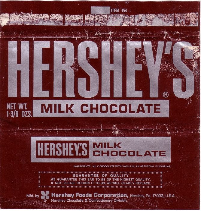 Chocolate Wrappers | Candy Wrappers 1960s hershey candy wrapper ...
