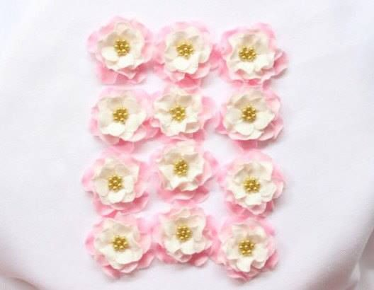 12 Vintage pink white gold Ombre flowers edible fondant cake topper cupcake toppers decorations wedding birthday bridal shower shabby chic by InscribingLives (19.99 USD) http://ift.tt/1ORZCLO