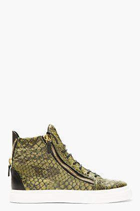 Giuseppe Zanotti Green Embossed Birel High Top Sneakers Top Sneakers High Top Sneakers Mens Fashion Swag