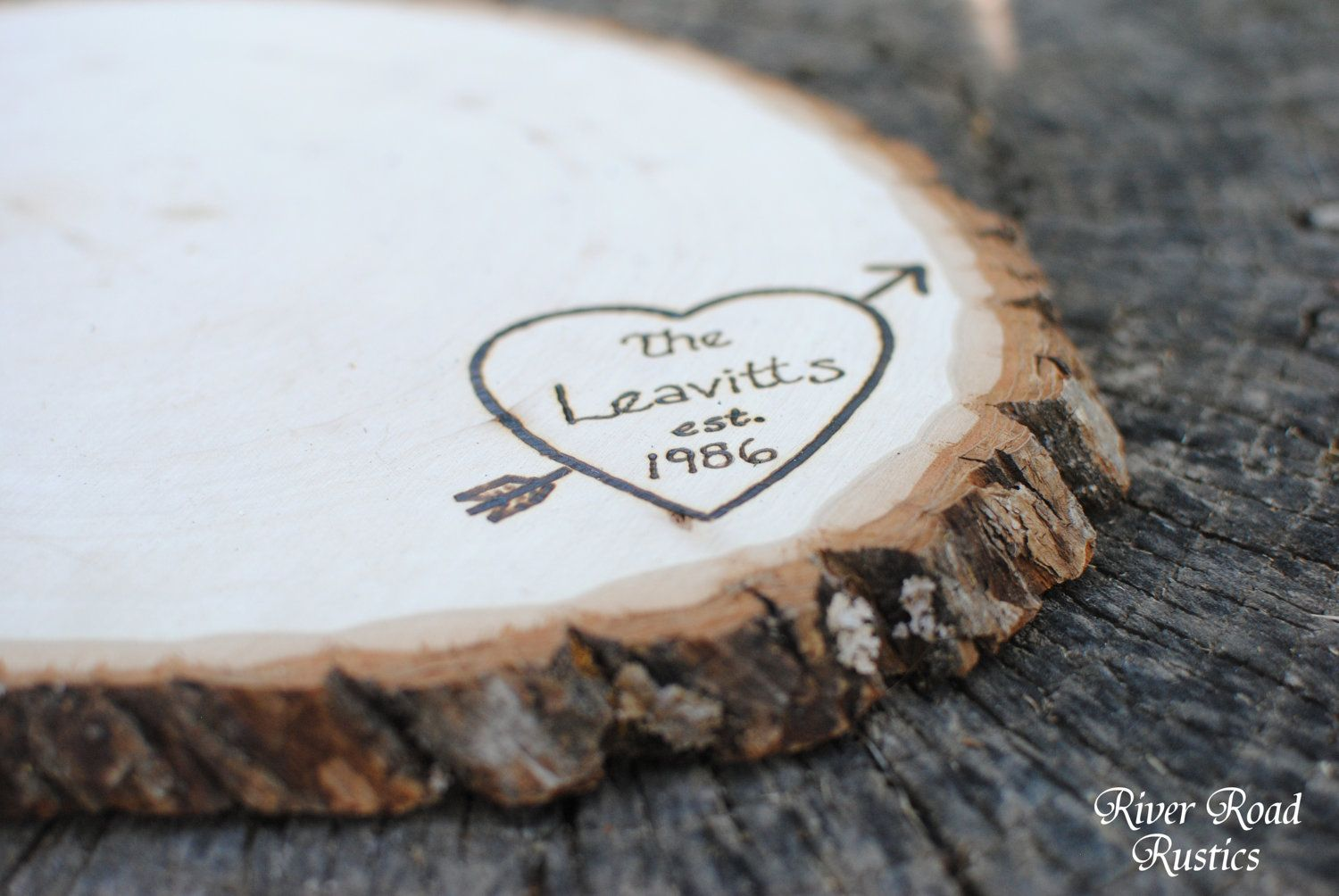 Tree Slice- Large with Personalization- centerpiece, cake stand ...