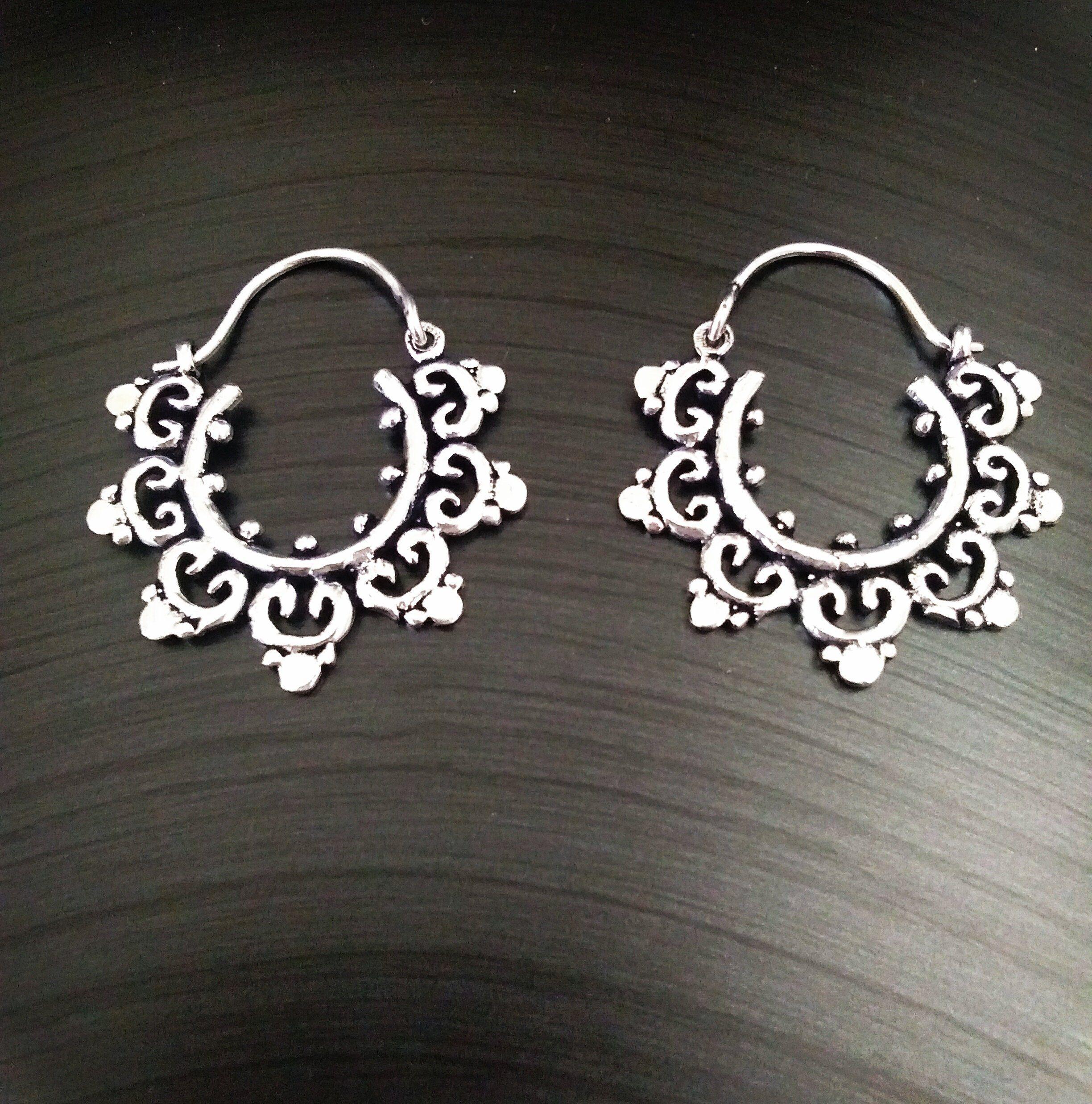21c80892f One Pair Indian Handmade German Silver gypsy hoop earrings mandala ethnic  indian tribal pretty unique boho pixie festival Sacred Jwellery by  itemofhand on ...
