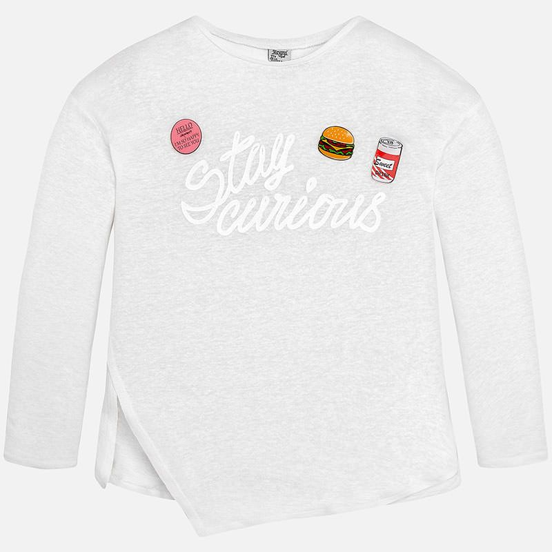 Camiseta manga larga de niña bajo asimétrico Blanco | girls