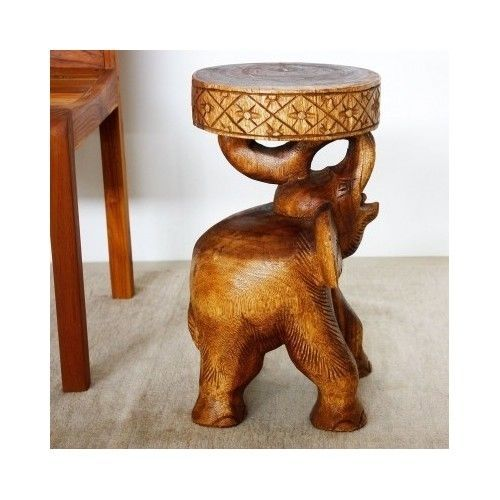 Hand Carved Stool Wooden Elephant Chang Coffee Table Plant Stand