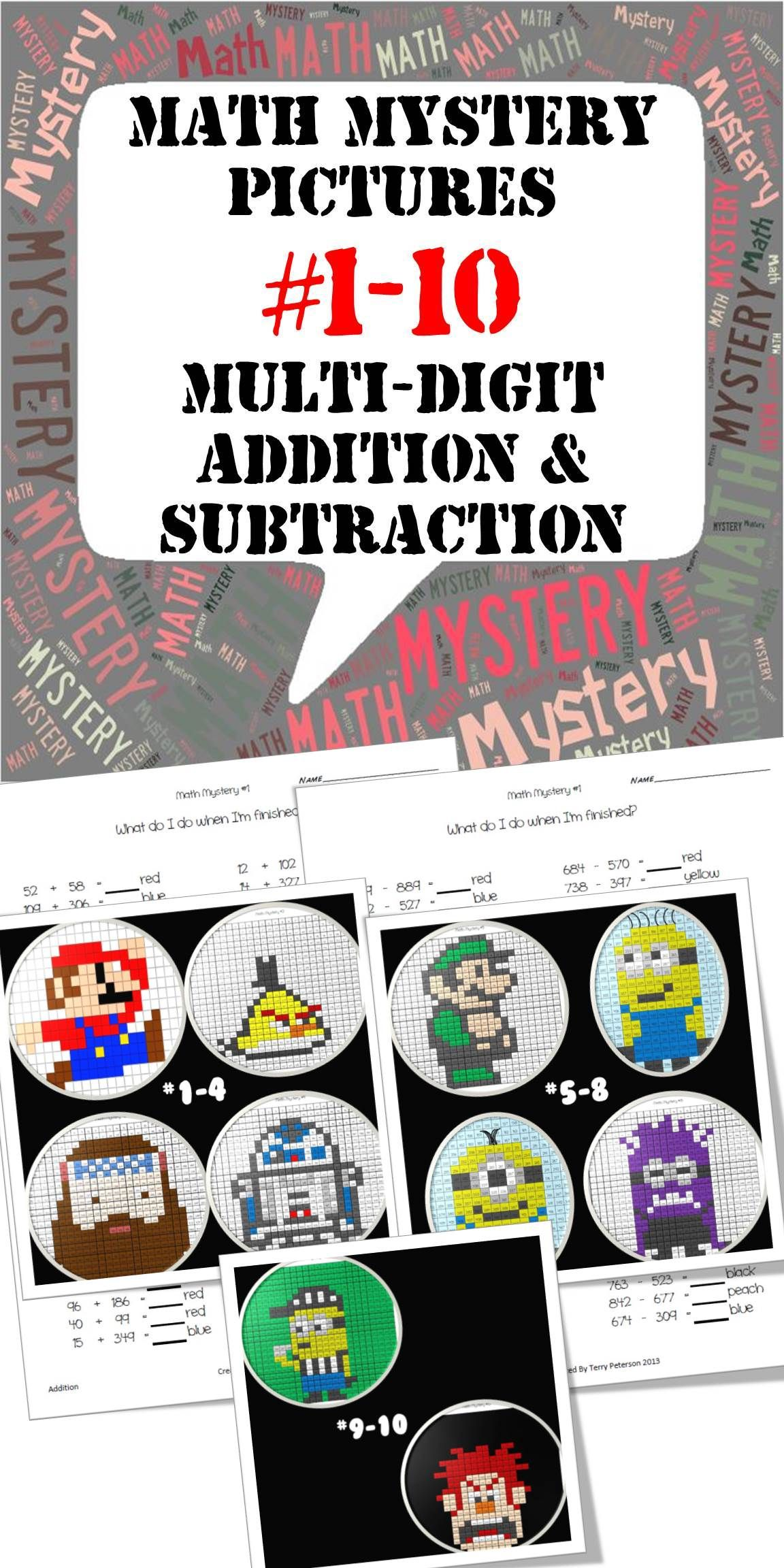 Mystery Pictures 1 10 Bundle Multi Digit Addition And