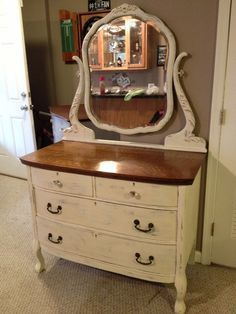 Hand Painted Antique Dresser Mirror Repourpesed Furnitures Muebles