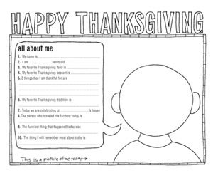 6 Adorable Free Thanksgiving Placemats for Kids