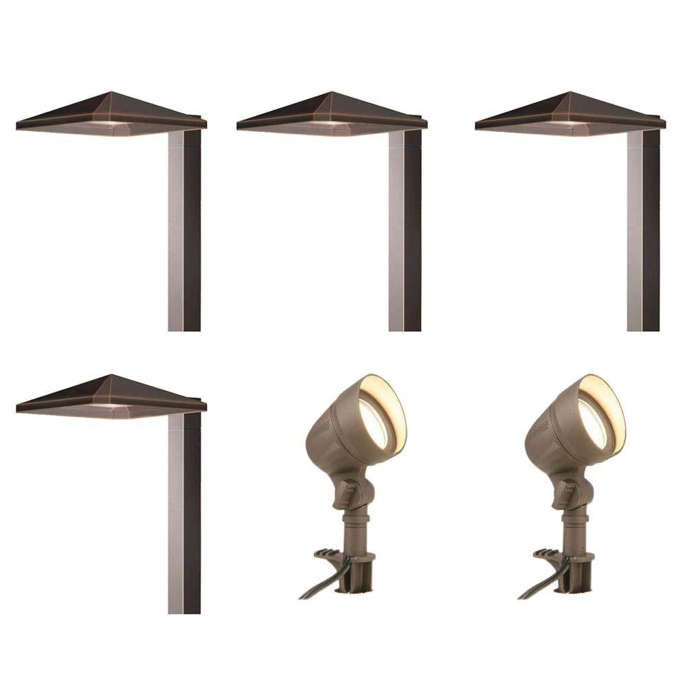 Hampton Bay Low Voltage Bronze Outdoor Integrated Led Landscape Light Kit With 2 Flood Lights And 4 Path Lights 6 Pack Iww6626l The Home Depot In 2020 Led Outdoor Lighting Bronze Outdoor Lighting