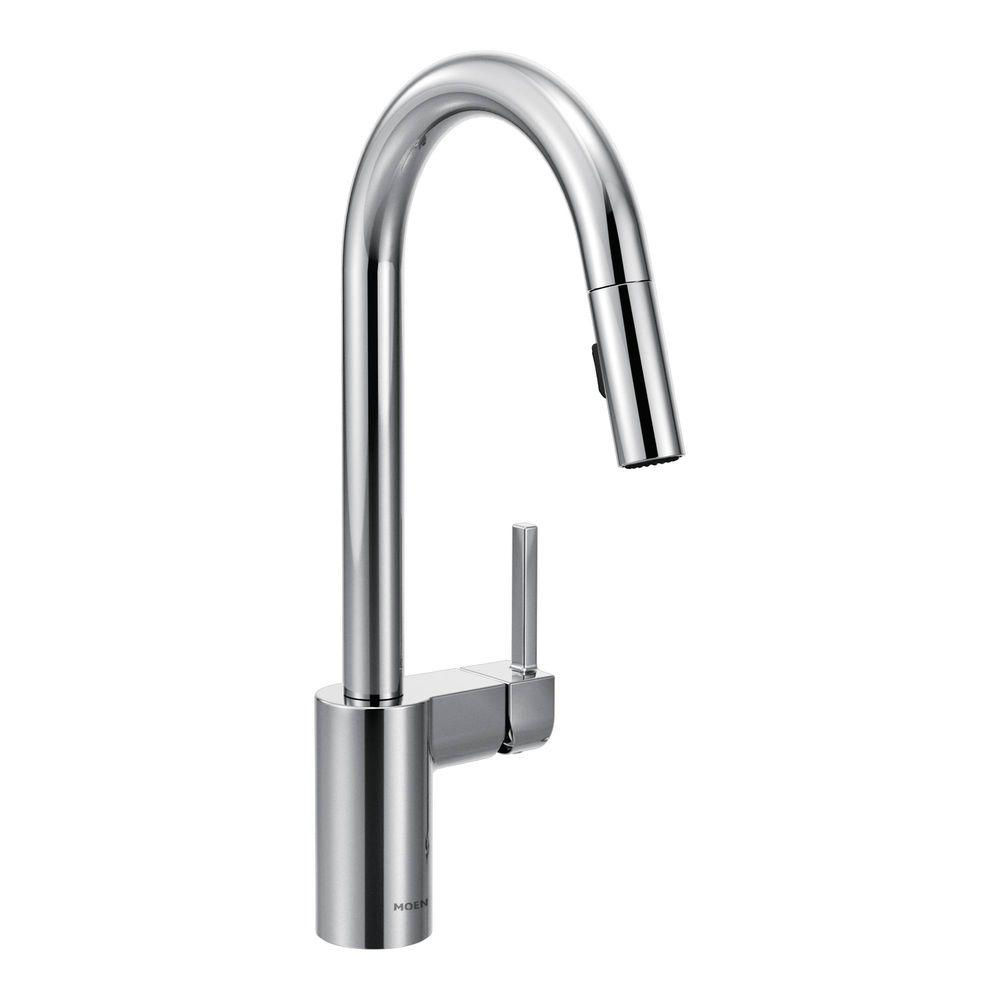 I Like This Clean Look This Brand Guaranteed For A Lifetime Moen Align Single Handle Pull Down Spr Kitchen Faucet Moen Kitchen Faucet Chrome Kitchen Faucet