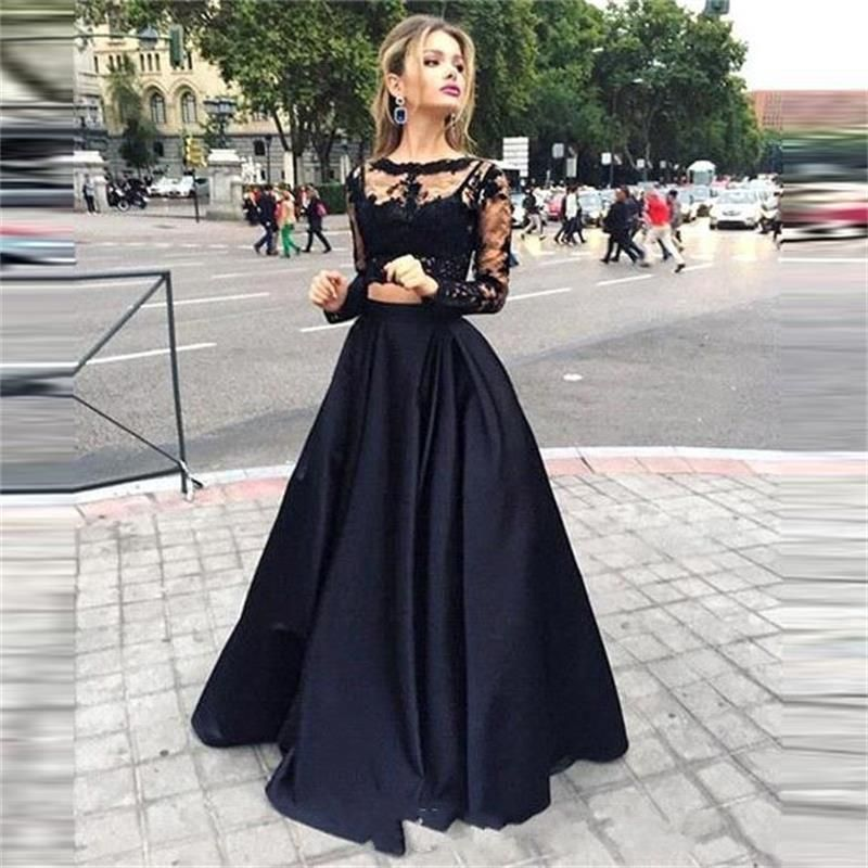 Black Lace Two Piece Prom Dresses With Long Sleeve With Lace