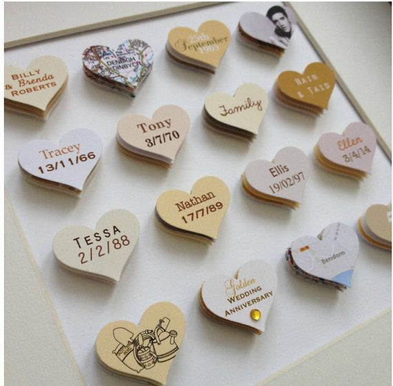 50th Wedding Anniversary Gift 16 Hearts Golden From Made By Mrs