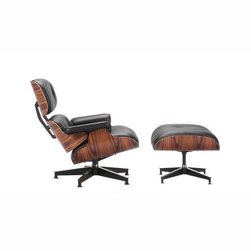 Amazon - Kardiel Eames Style Plywood Lounge Chair & Ottoman, Black  Aniline/