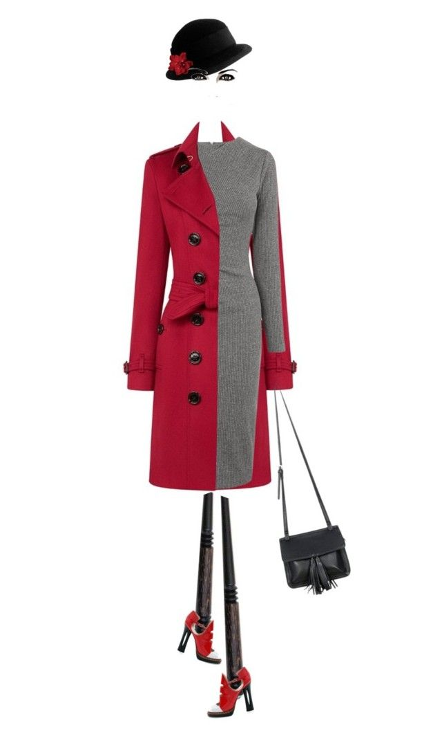 """""""Red/Gray/Black"""" by petalp ❤ liked on Polyvore featuring Burberry, Whistles, Fendi, Chicnova Fashion and Yves Saint Laurent"""