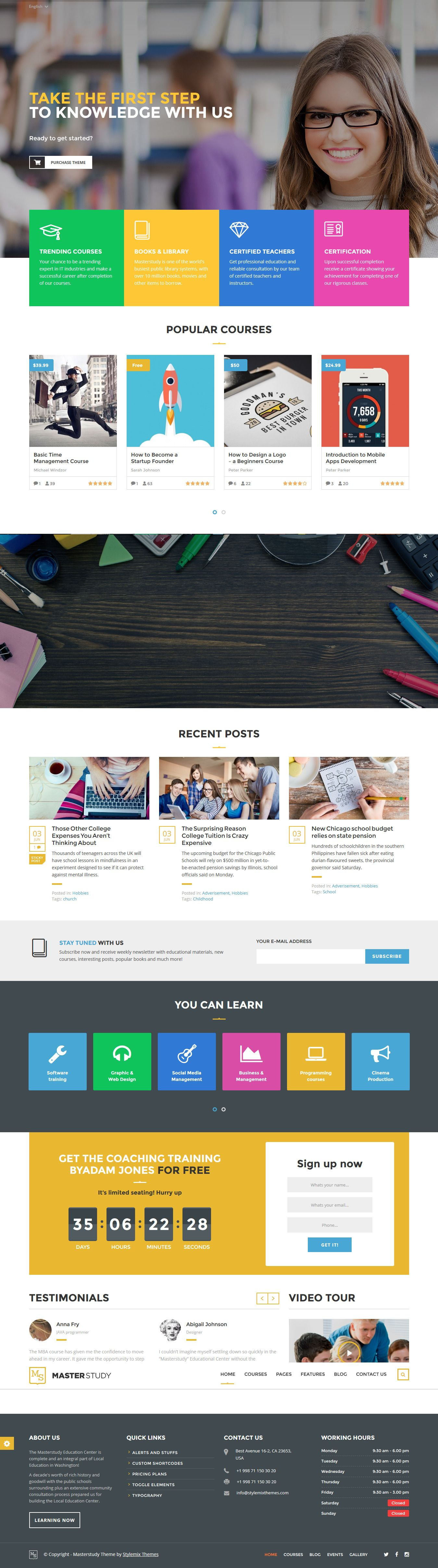 Masterstudy - Education WordPress Theme for Learning, Training and ...