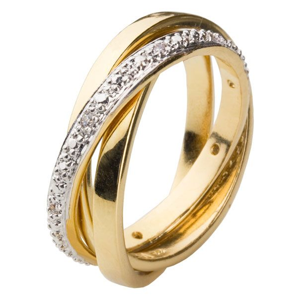 18ct Yellow Gold Plated Russian Wedding Ring Set with White CZs