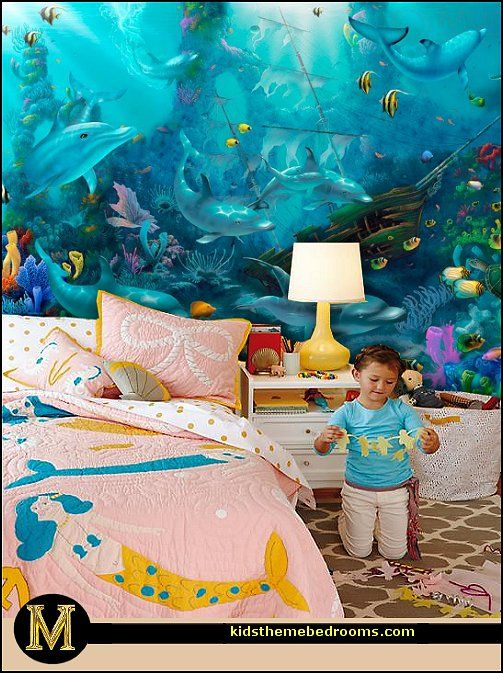 Mermaid theme bedroom decorating ideas and mermaid theme for Under the sea bedroom designs