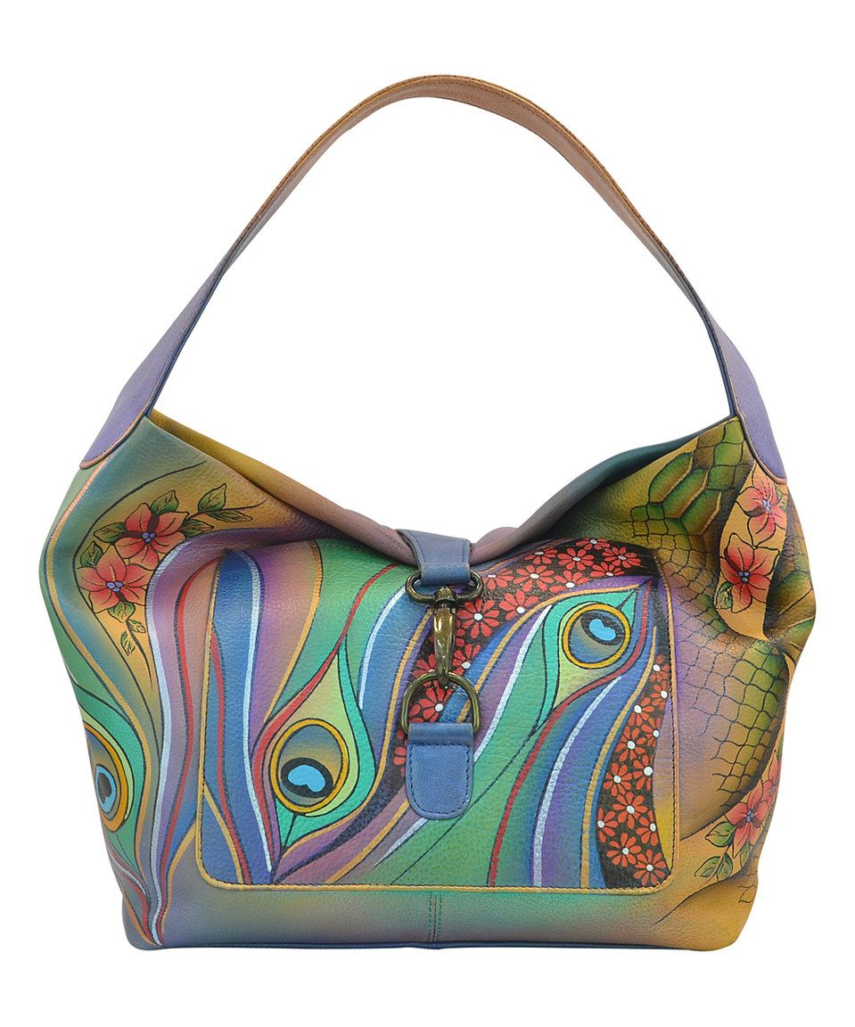 Anuschka Handbags Dancing Peacock Hand-Painted Leather Fold-Over Hobo Bag  by Anuschka Handbags  zulilyfinds  aa0865708c3ef