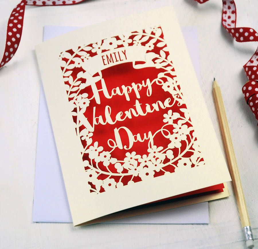 Personalised Papercut Valentines Card  Pink cards Laser cutting