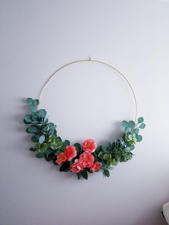 Photo of 28-inch wreath, modern tire wreath for children's rooms, X large wedding wreath, golden tire wreath, floral tire wreath, bedroom tire wreath