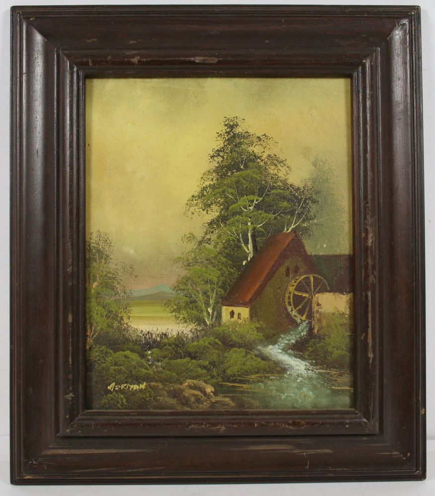 Vintage Naturalist Watermill Oil Painting Signed Gorman
