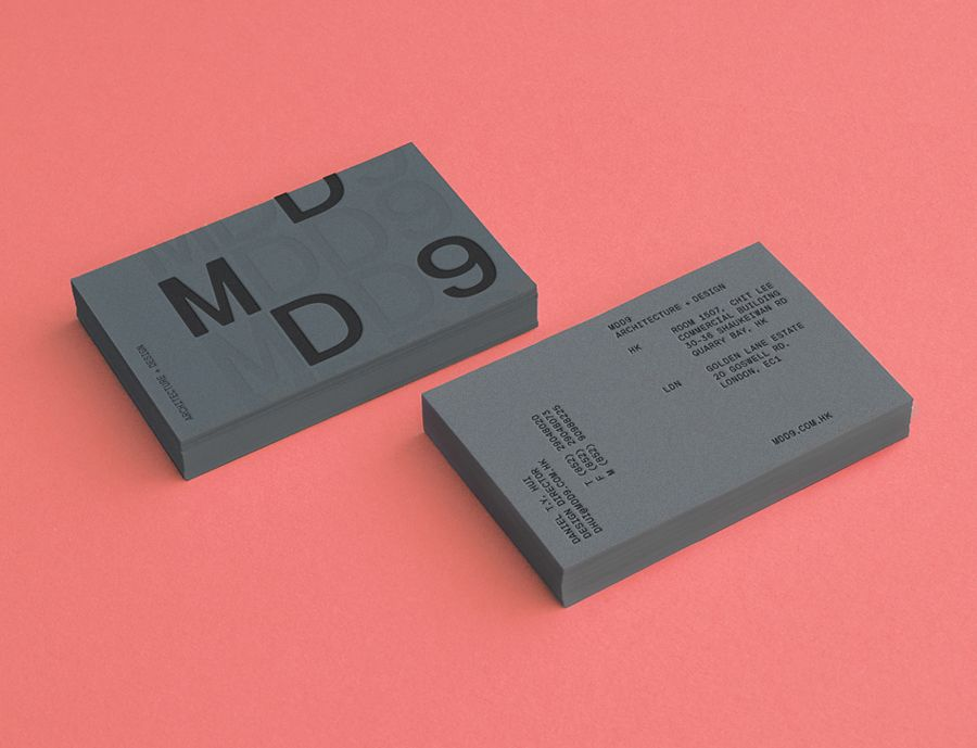 Logo And Grey Business Card With Blind Deboss Detail Designed By Two Times  Elliott For Interior