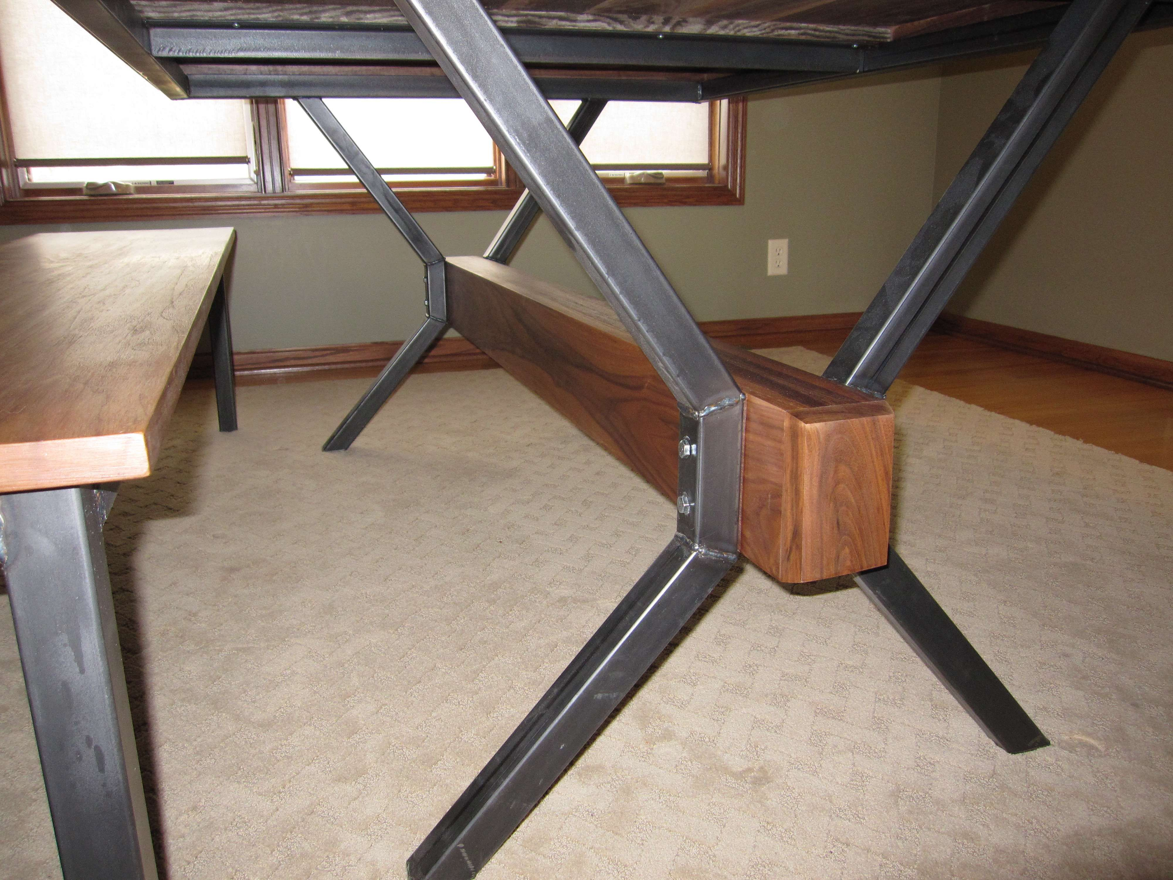 Walnut Tressle Salvaged Wood Trestle Extension Dining Table