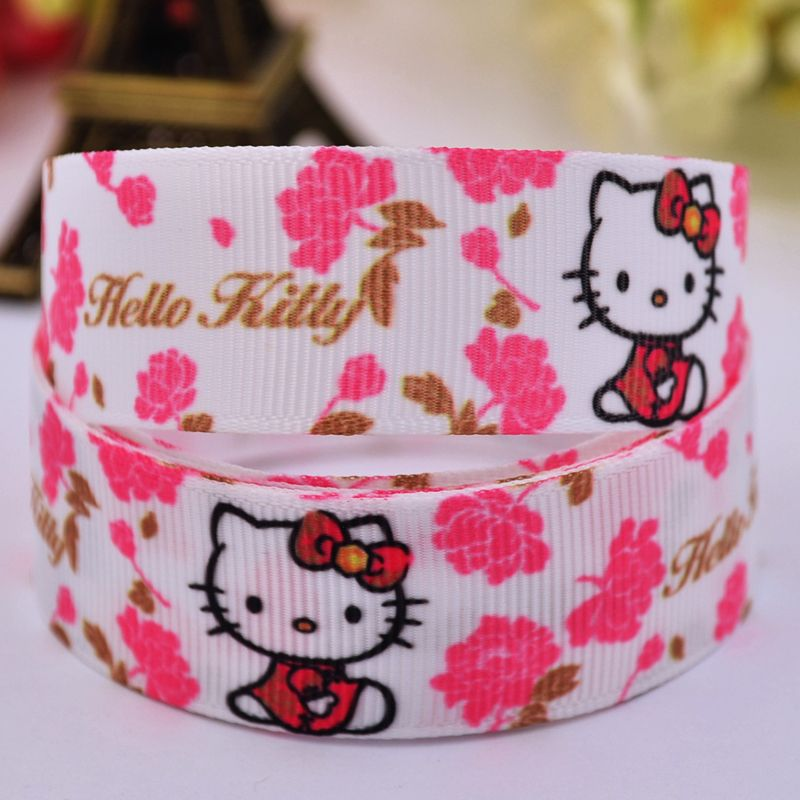 "7/8"" 22mm Hello Kitty Cartoon Printed grosgrain ribbon party decoration satin ribbons DIY Hairbow sewing supplies 10Y X-00162"
