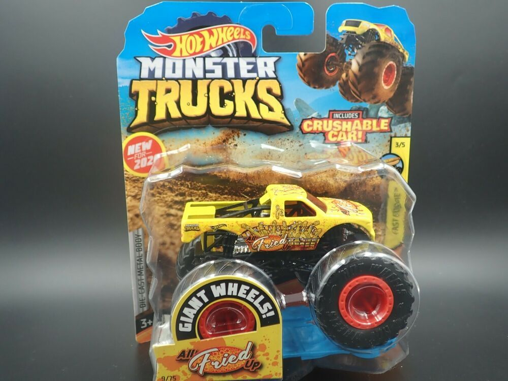 HOT WHEELS MONSTER TRUCKS ALL FRIED UP WITH CRUSHABLE CAR