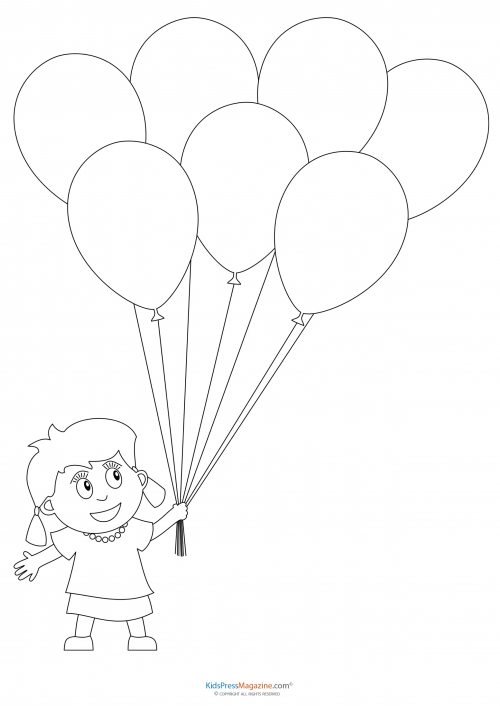 Preschool Coloring Pages Girl With Balloons Kidspressmagazine Com Free Halloween Coloring Pages Unicorn Coloring Pages Fall Coloring Pages