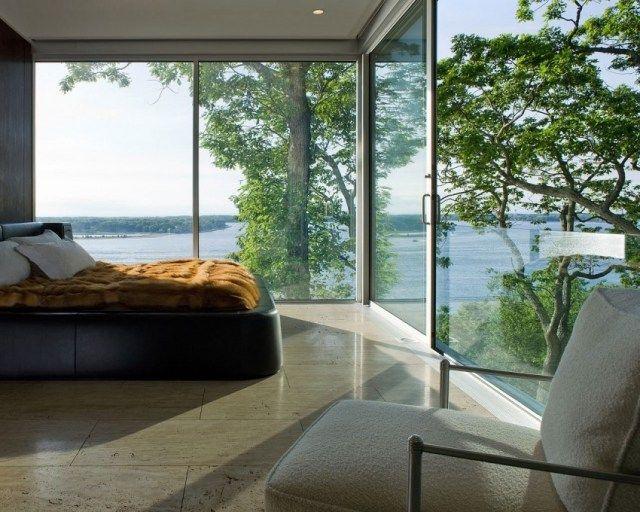 Schlafzimmer Len Design schlafzimmer fensterfront bodenfliesen steinoptik polsterbett