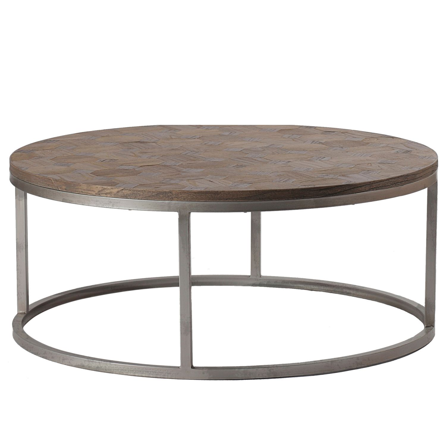 Round Pottery Barn Coffee Table With Adjustable Wrought Iron Legs And Parquet Round Wood Coffee Table Coffee Table Wicker Coffee Table [ 921 x 1024 Pixel ]