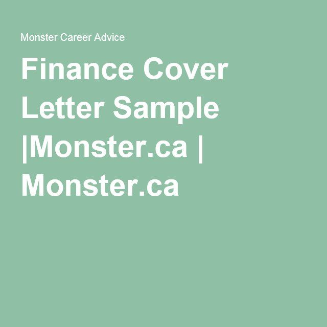 Finance Cover Letter SampleMonsterca Monsterca Career - sample cover letter career change