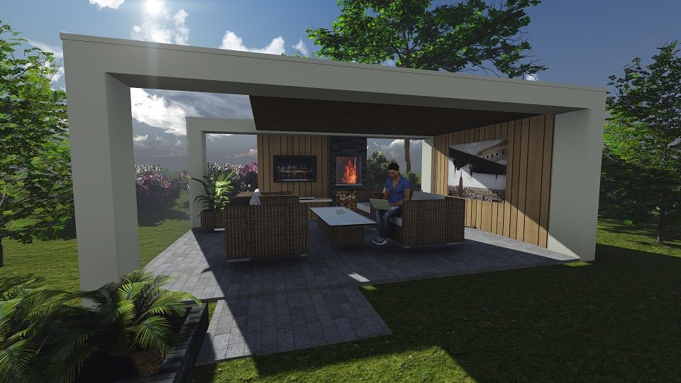 Impressie moderne veranda, wit met accenten in onbehandeld hout ...