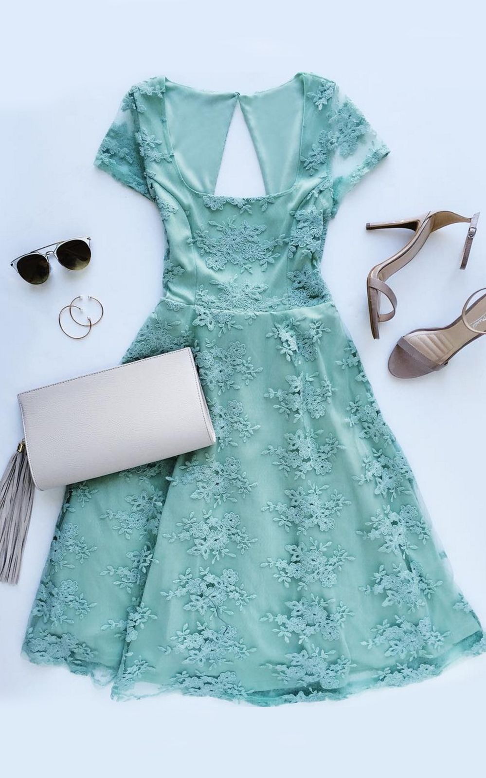 Green short dress for wedding  Sunny Feeling Sage Green Lace Midi Dress  s  Pinterest