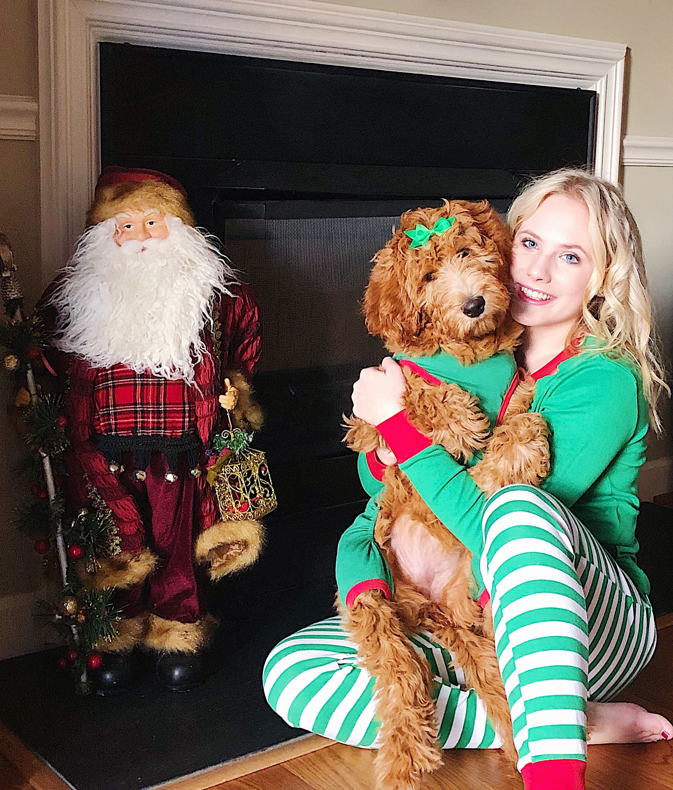 Matching Christmas pajamas with my puppy! Elf pajamas