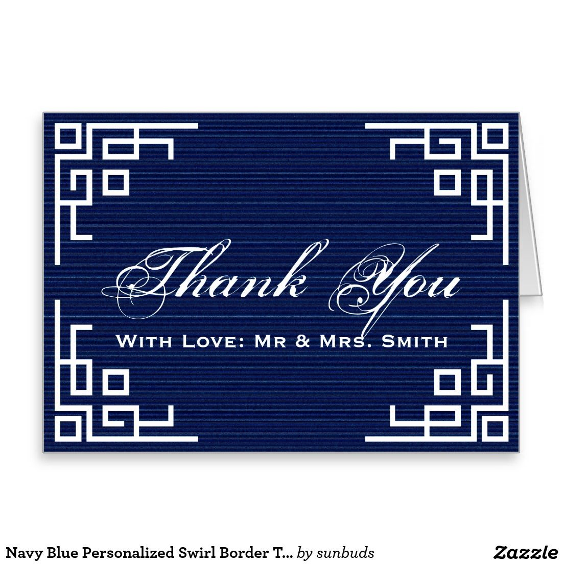 Navy Blue Personalized Swirl Border Thank You Card Cards Be My