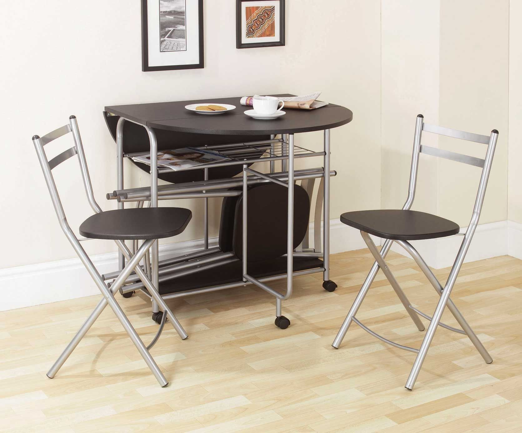 Black Fold Up Table And Chairs