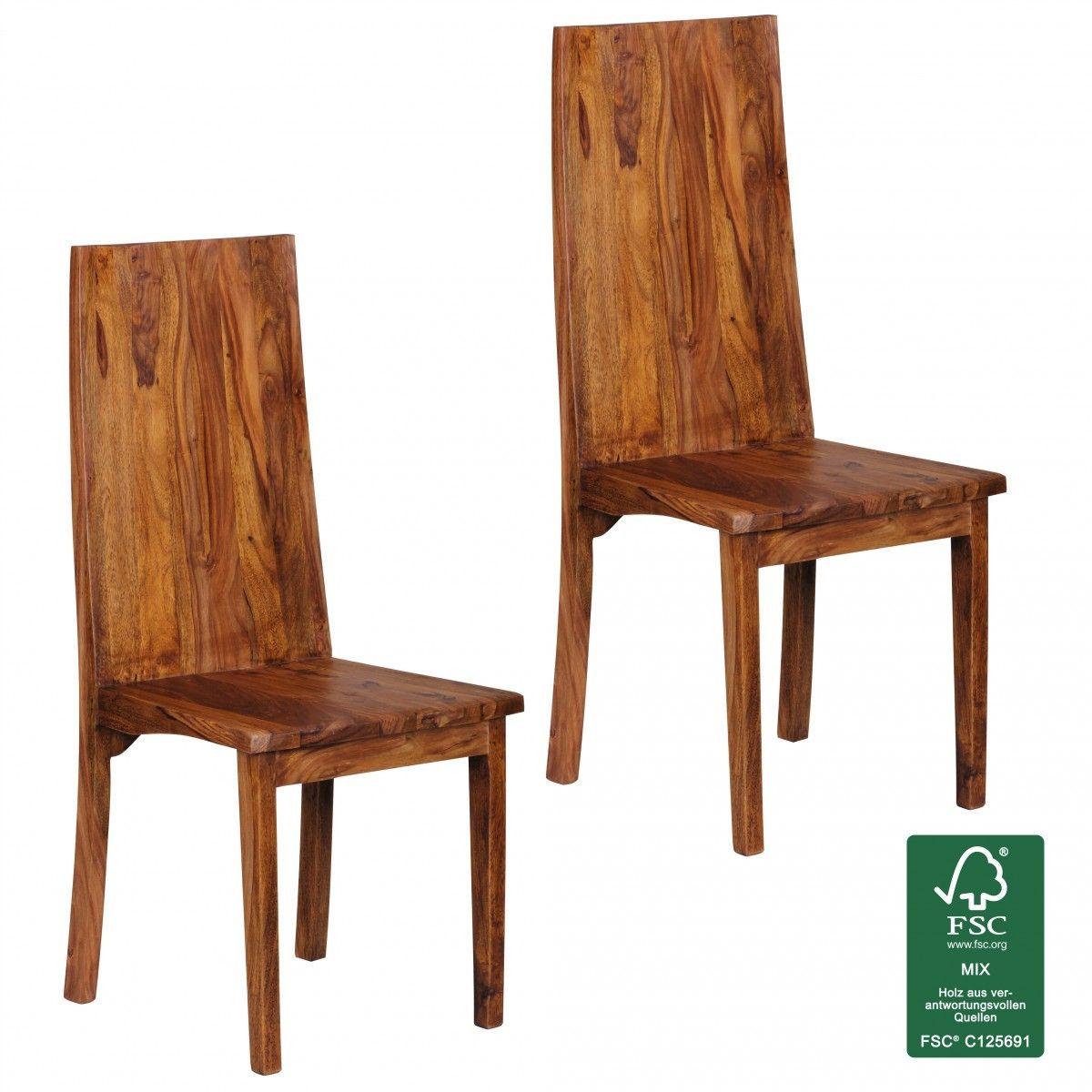 WOHNLING Esszimmerstühle 2er Set Massiv-Holz Sheesham Doppelpack ...